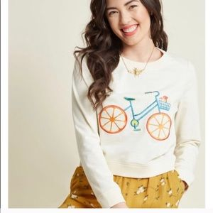 ModCloth cruise wisely embroidered bike sweater XL